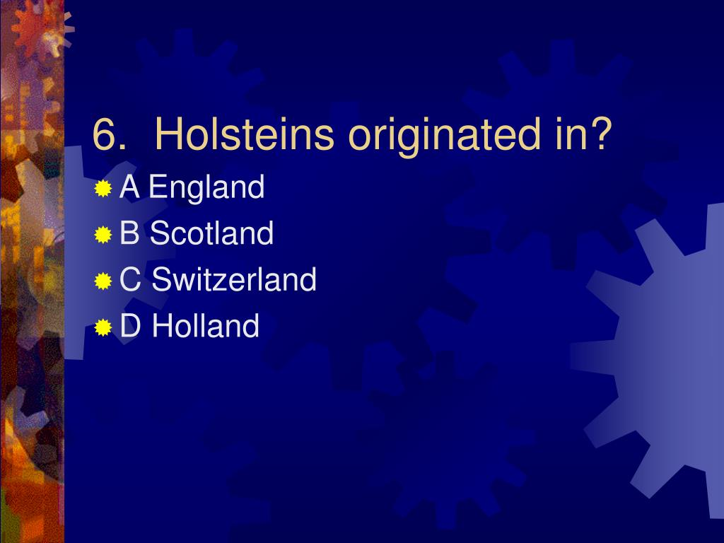 6.  Holsteins originated in?