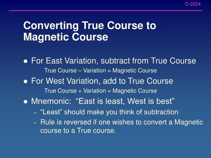 Converting True Course to Magnetic Course