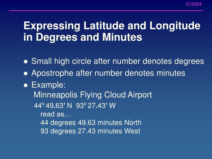 Expressing Latitude and Longitude in Degrees and Minutes