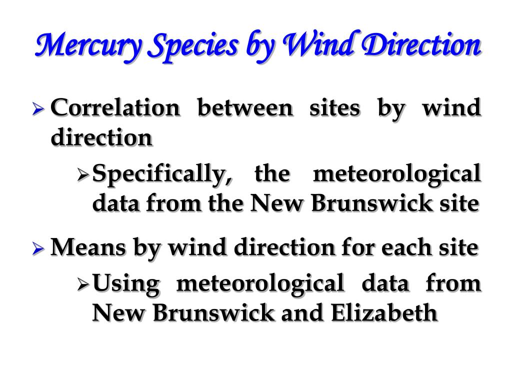 Mercury Species by Wind Direction