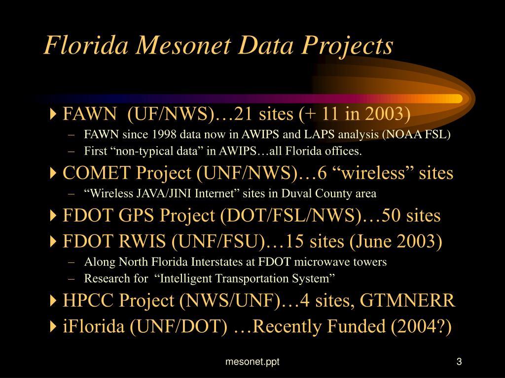 Florida Mesonet Data Projects