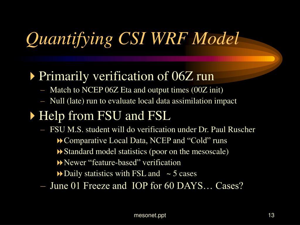 Quantifying CSI WRF Model