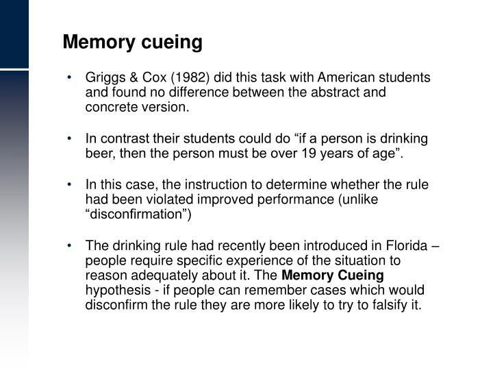 Memory cueing