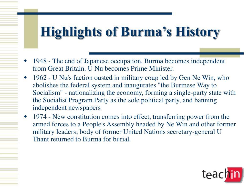 Highlights of Burma's History
