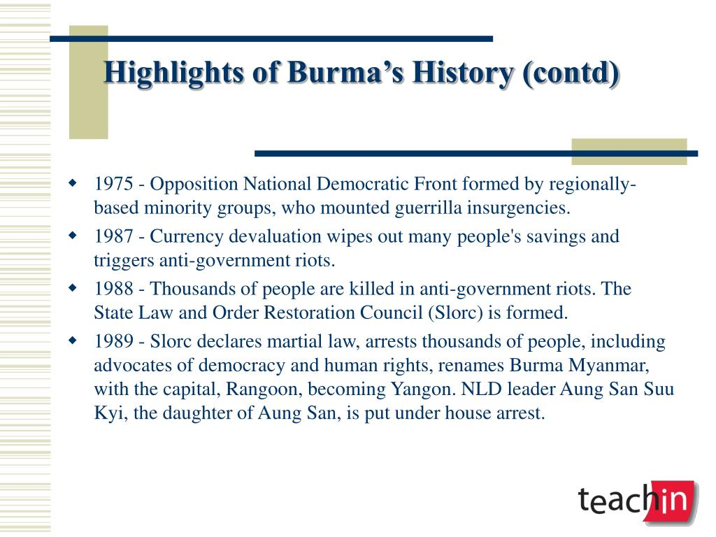 Highlights of Burma's History (contd)