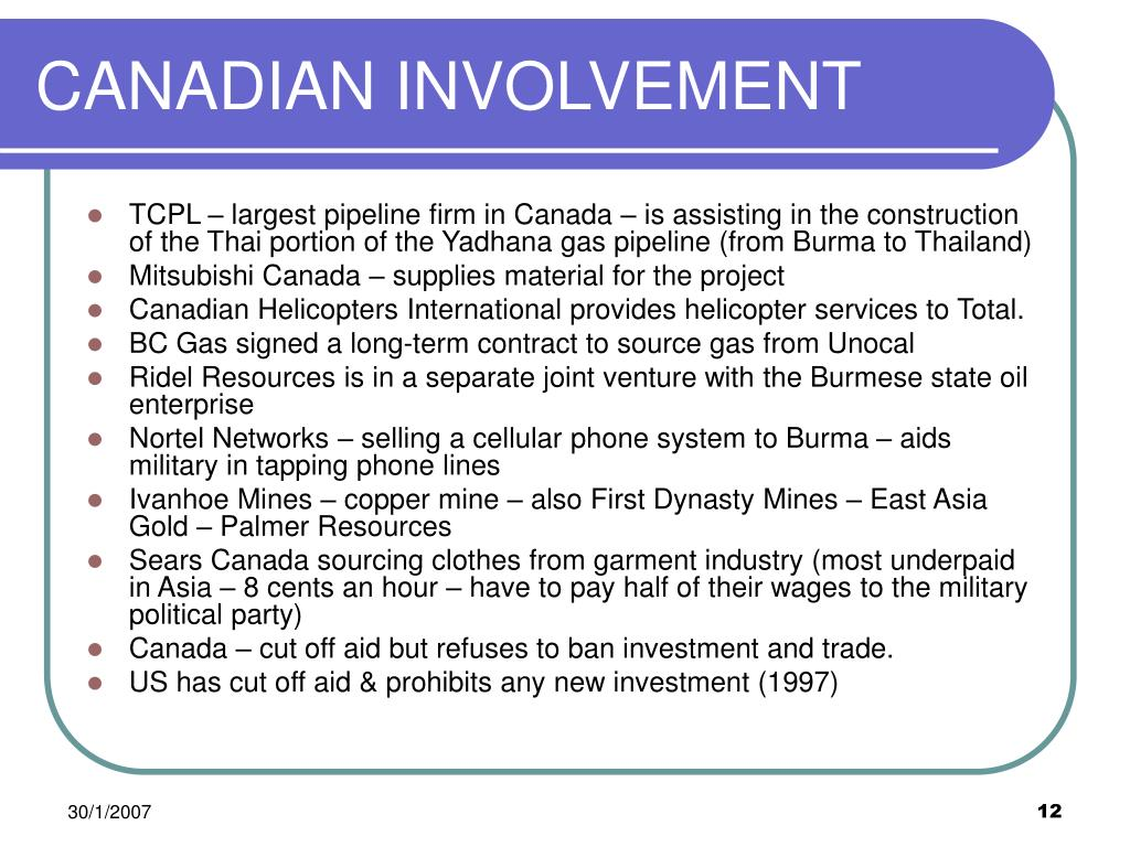 CANADIAN INVOLVEMENT