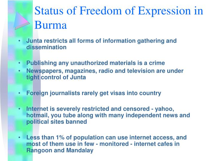 Status of freedom of expression in burma