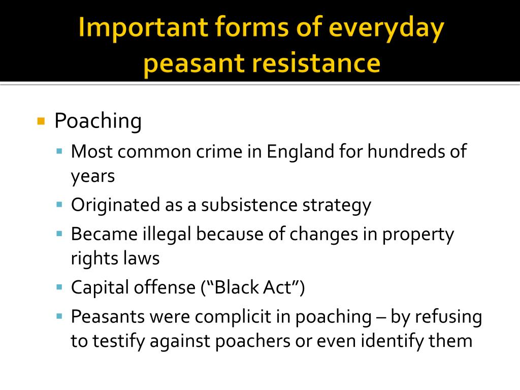 Important forms of everyday peasant resistance