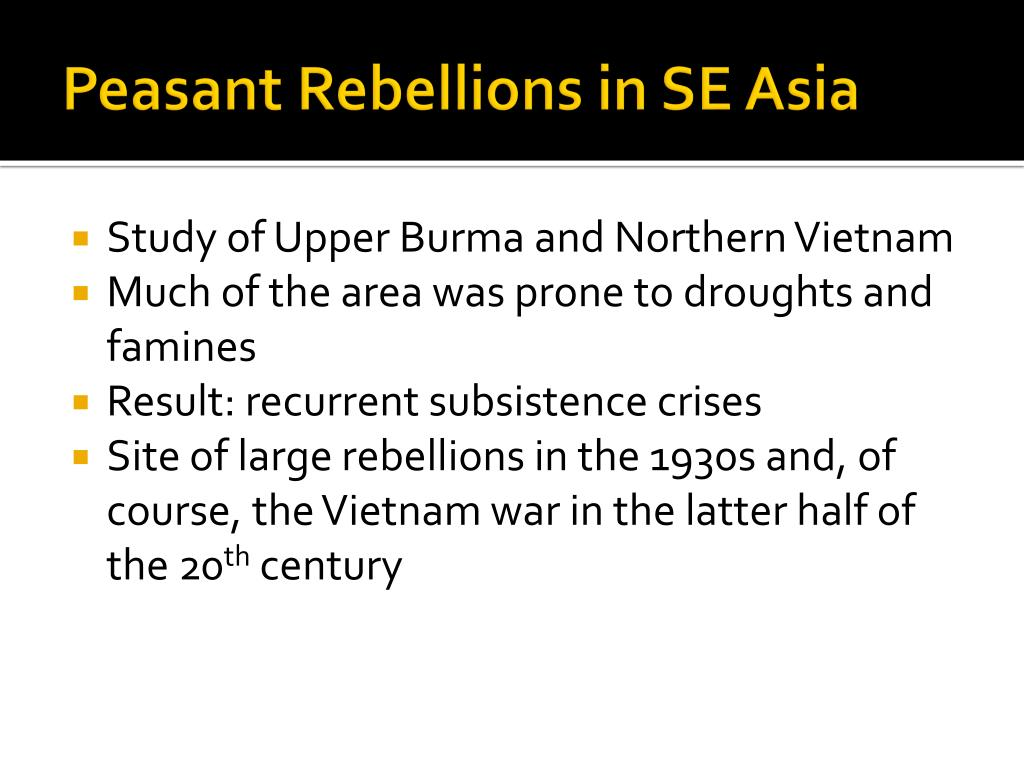 Peasant Rebellions in SE Asia