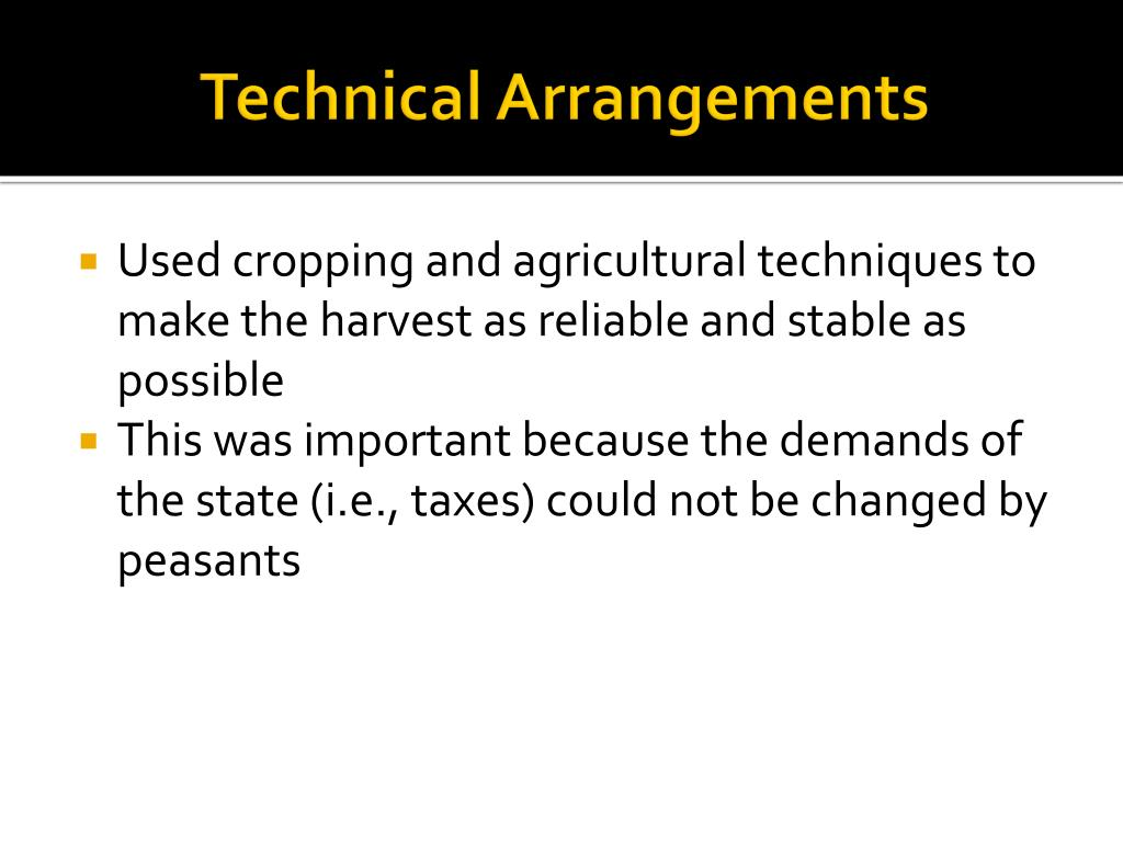 Technical Arrangements