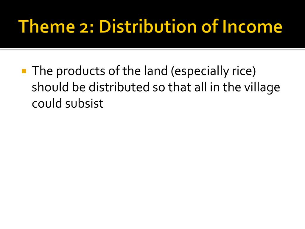 Theme 2: Distribution of Income