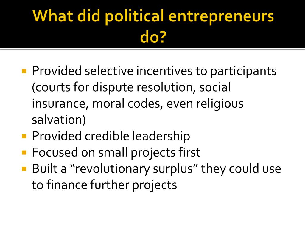 What did political entrepreneurs do?