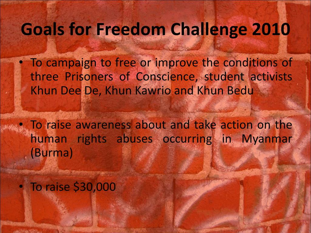 Goals for Freedom Challenge 2010