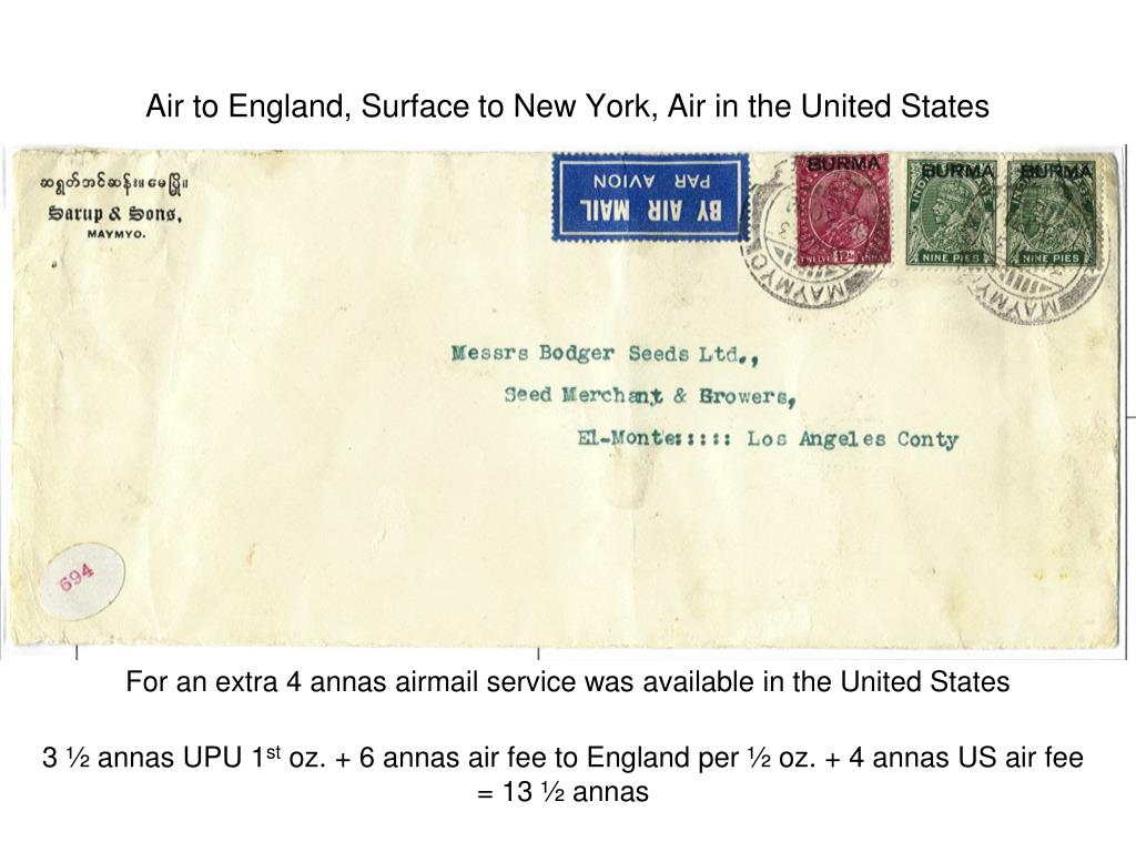 Air to England, Surface to New York, Air in the United States