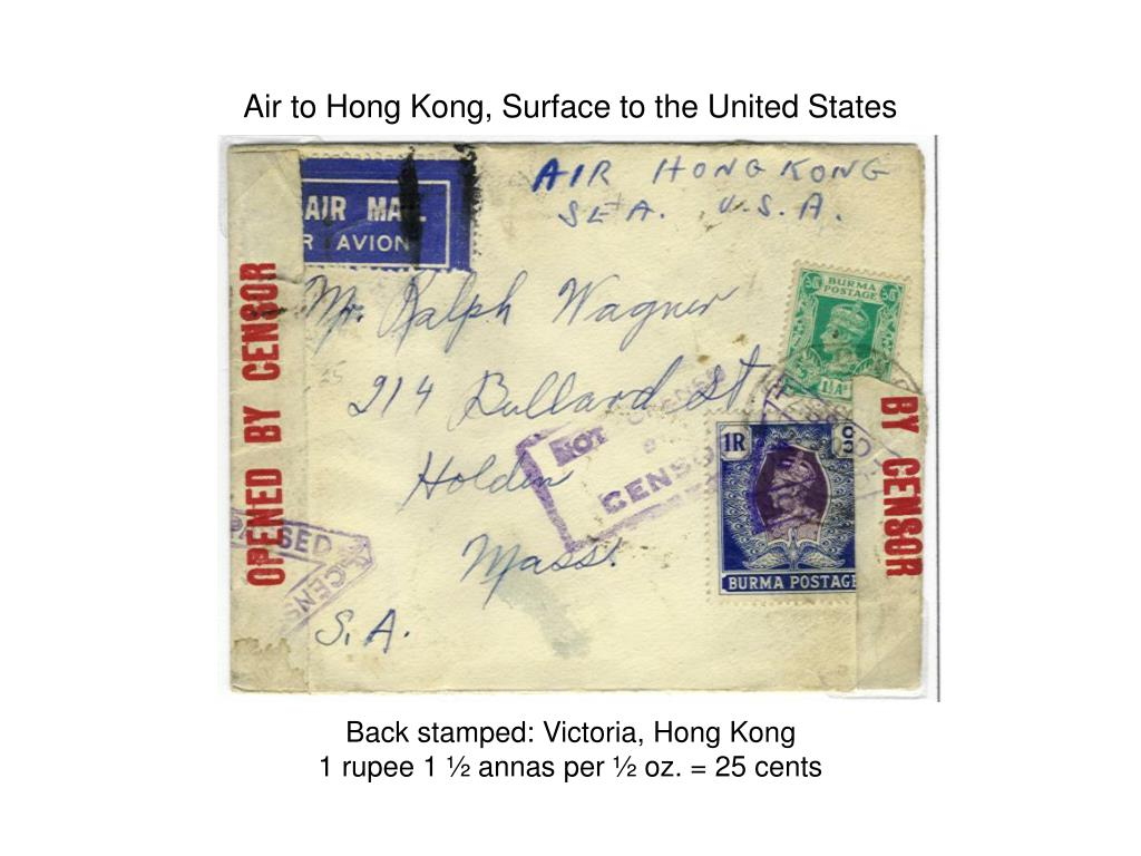 Air to Hong Kong, Surface to the United States