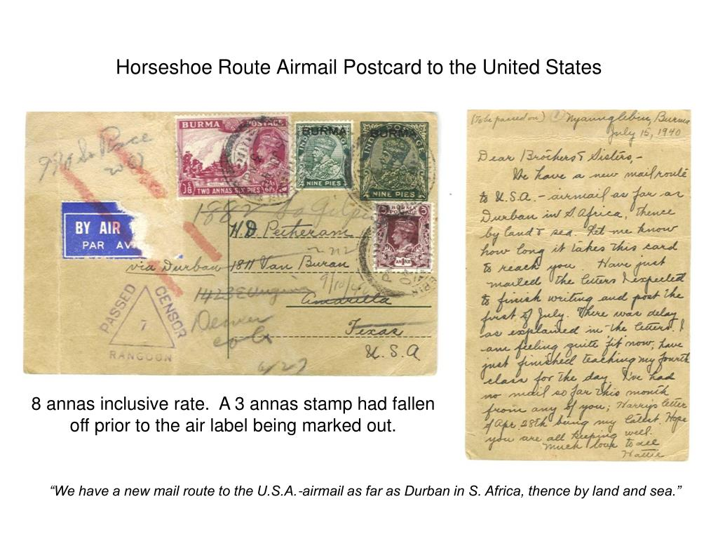 Horseshoe Route Airmail Postcard to the United States