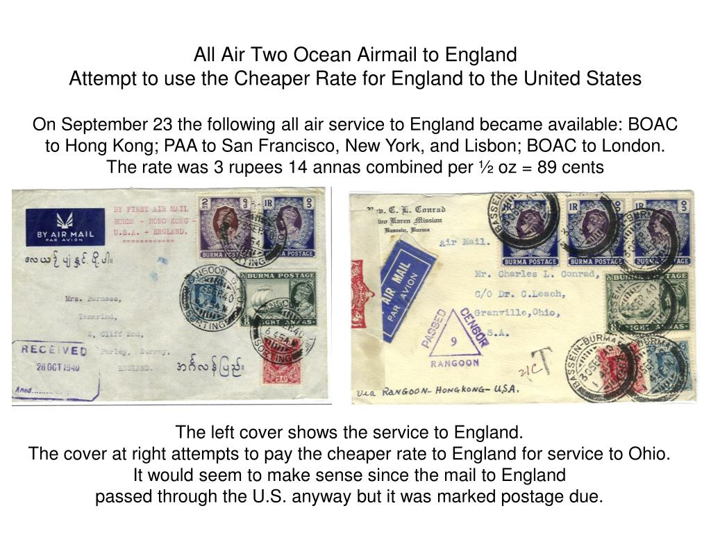 All Air Two Ocean Airmail to England