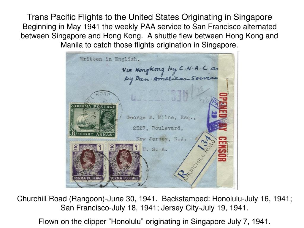 Trans Pacific Flights to the United States Originating in Singapore