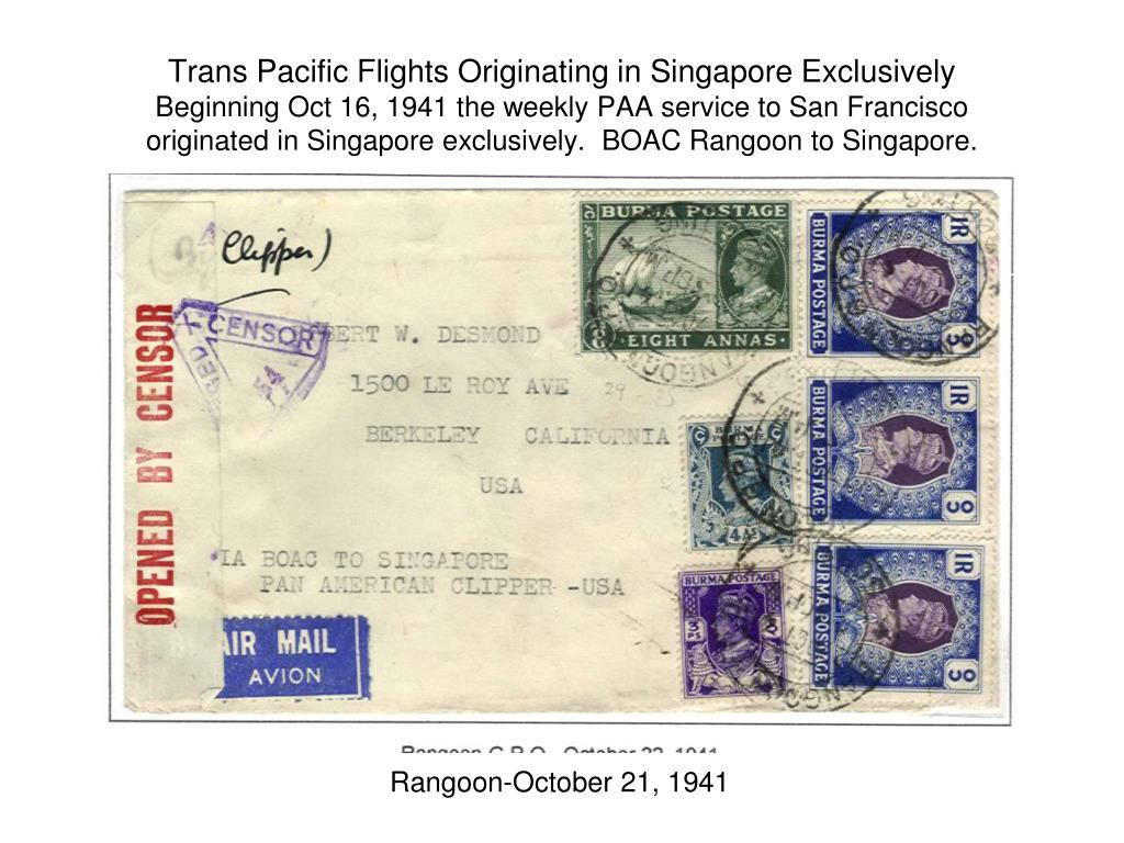 Trans Pacific Flights Originating in Singapore Exclusively