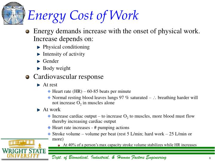 Energy Cost of Work