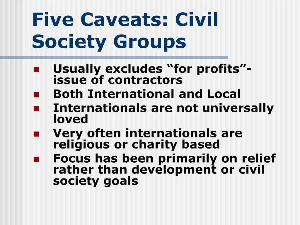 Five Caveats: Civil Society Groups