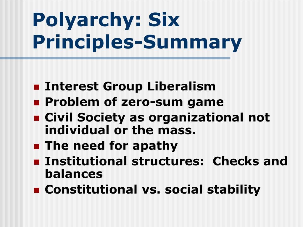 Polyarchy: Six Principles-Summary