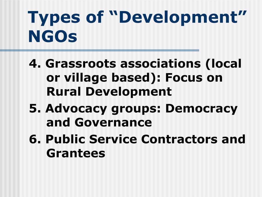 """Types of """"Development"""" NGOs"""