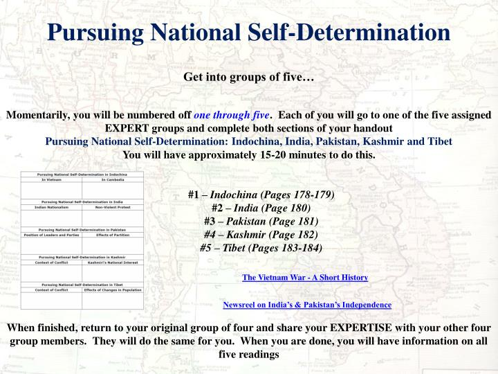 Pursuing National Self-Determination
