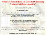 what are some effects on canada of pursuing national self determination