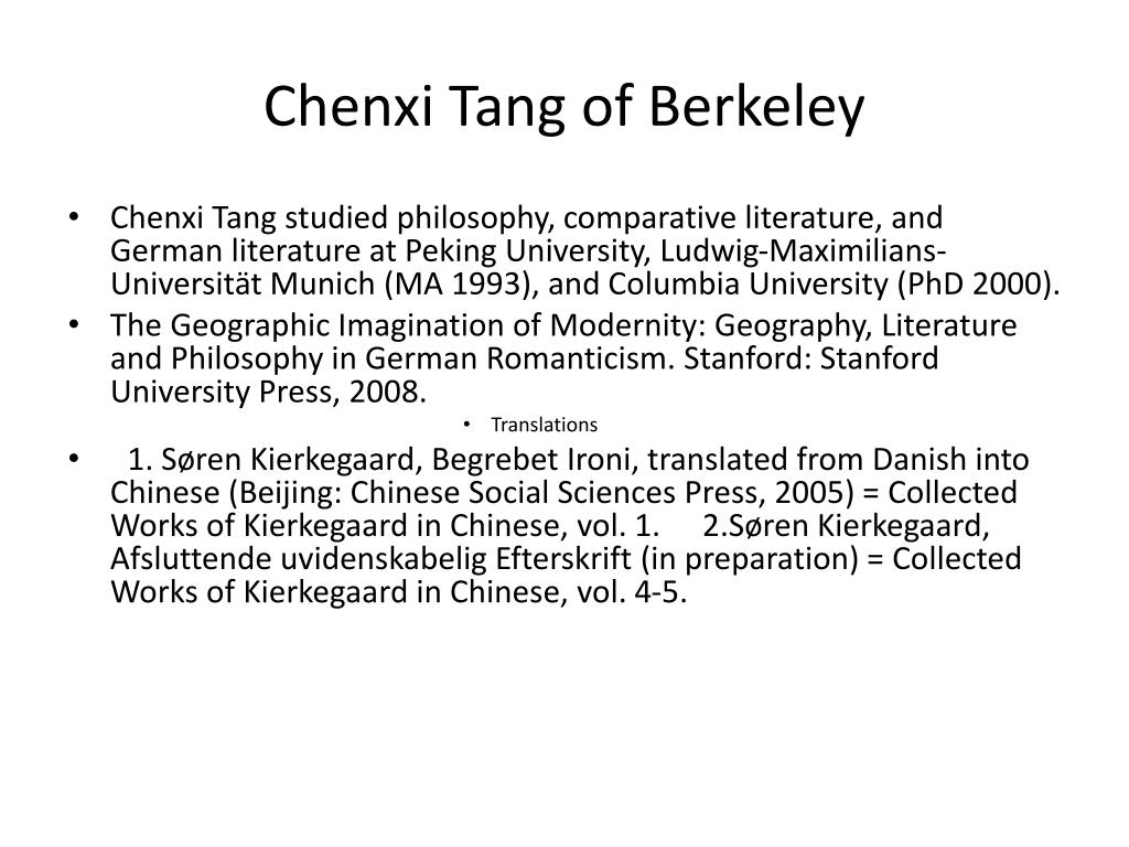 Chenxi Tang of Berkeley
