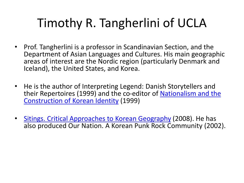 Timothy R. Tangherlini of UCLA