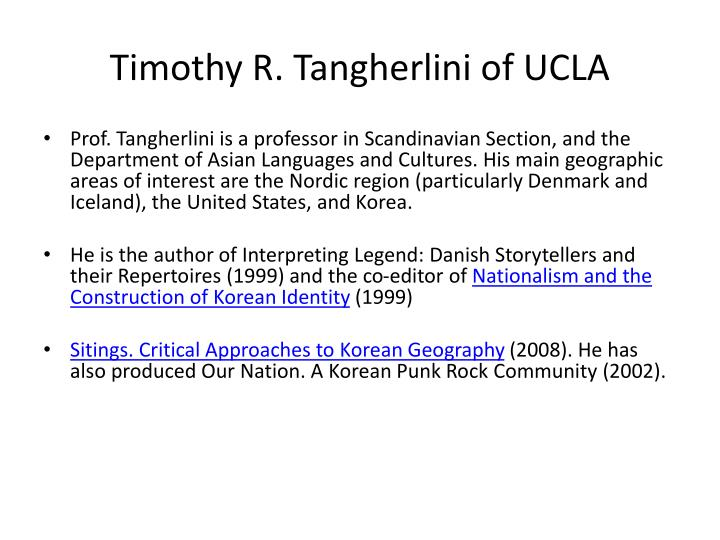 Timothy r tangherlini of ucla