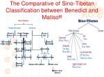 the comparative of sino tibetan classification between benedict and matisoff