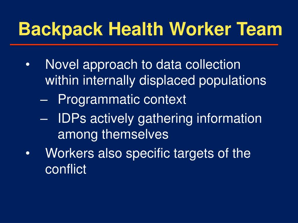 Backpack Health Worker Team