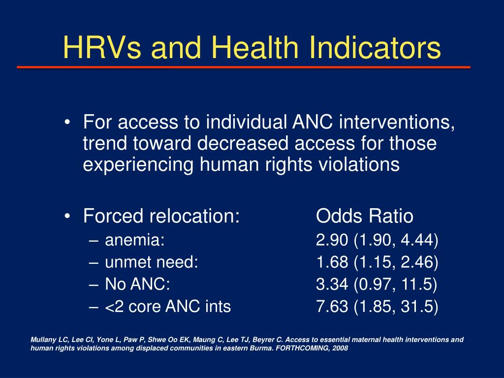 HRVs and Health Indicators