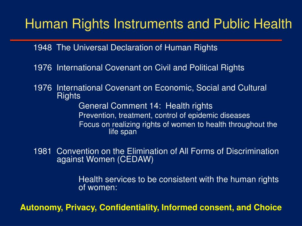 Human Rights Instruments and Public Health