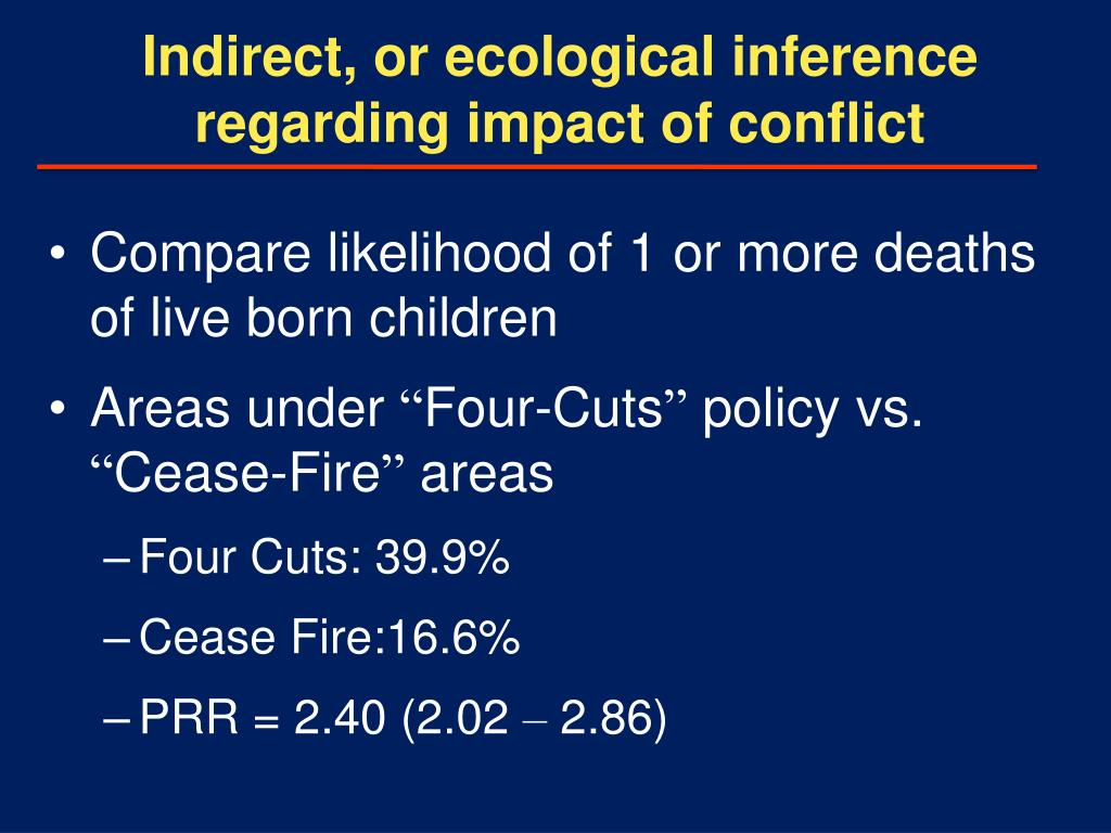 Indirect, or ecological inference regarding impact of conflict