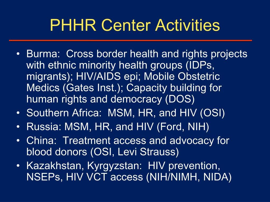 PHHR Center Activities