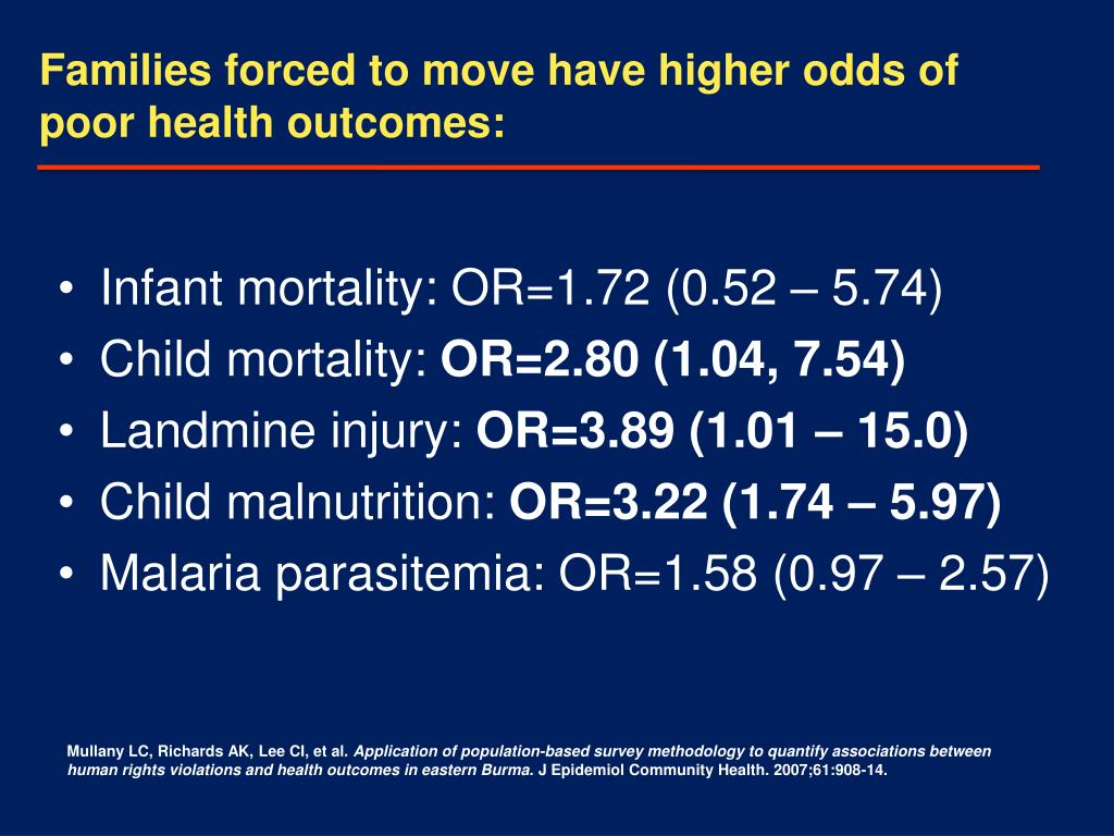 Families forced to move have higher odds of poor health outcomes: