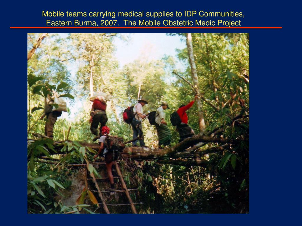 Mobile teams carrying medical supplies to IDP Communities,
