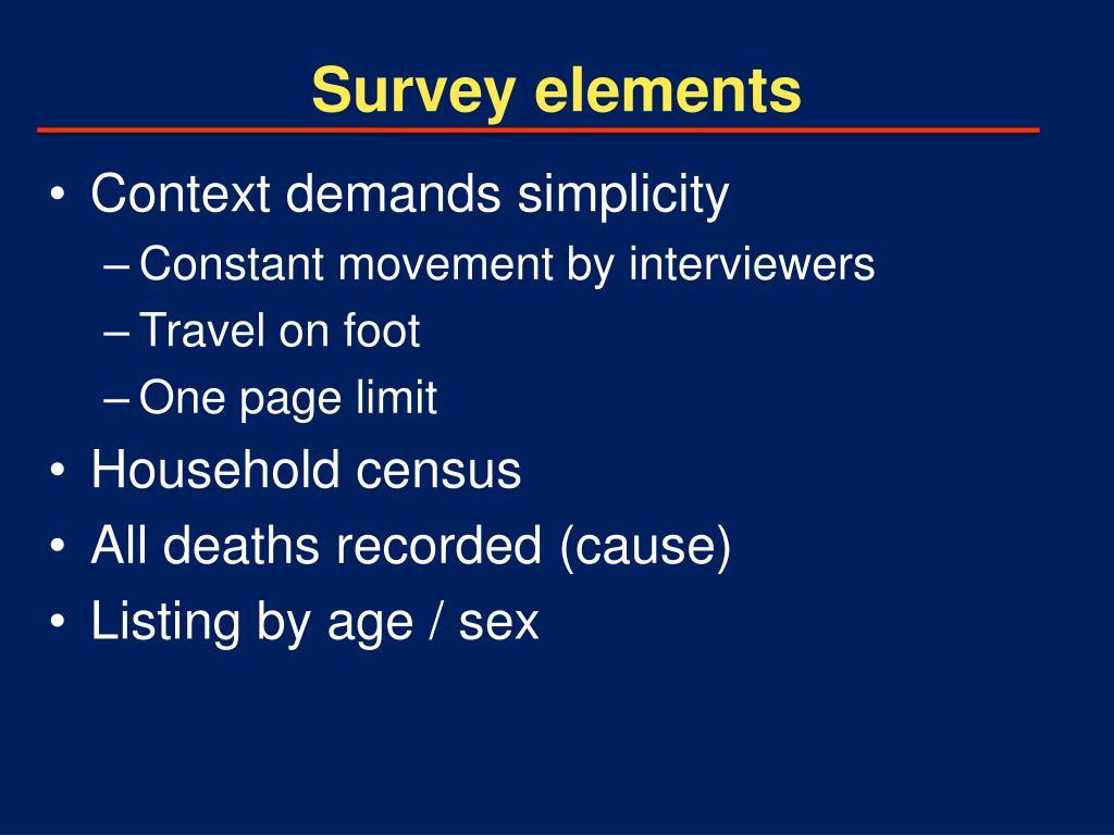 Survey elements