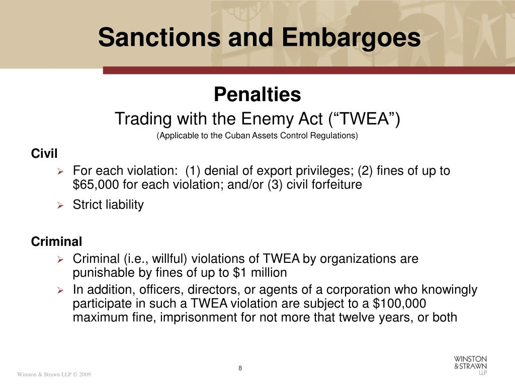 Sanctions and Embargoes