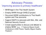 advocacy process improving access to primary healthcare