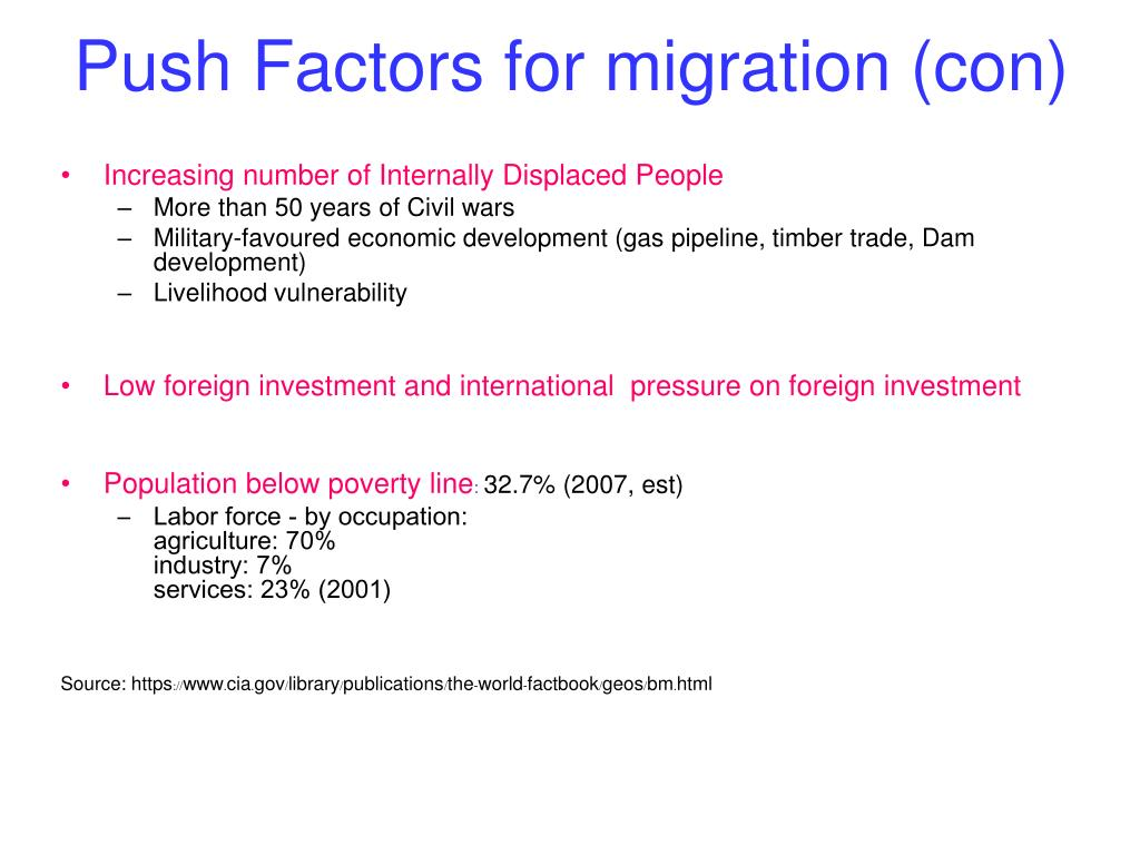 Push Factors for migration (con)