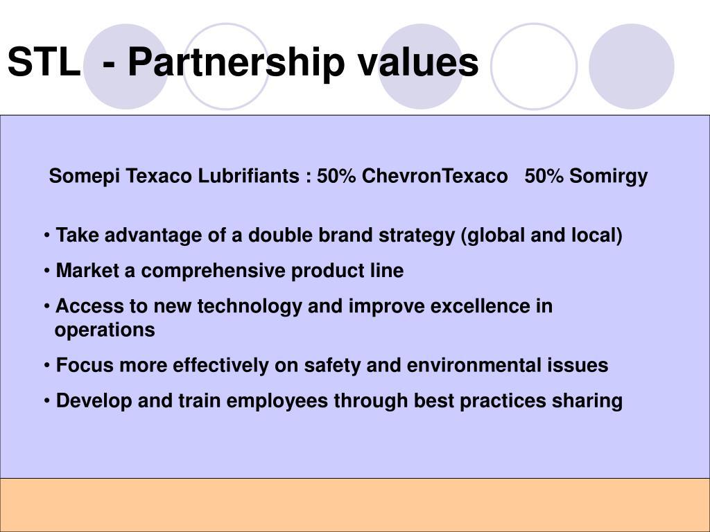 STL  - Partnership values