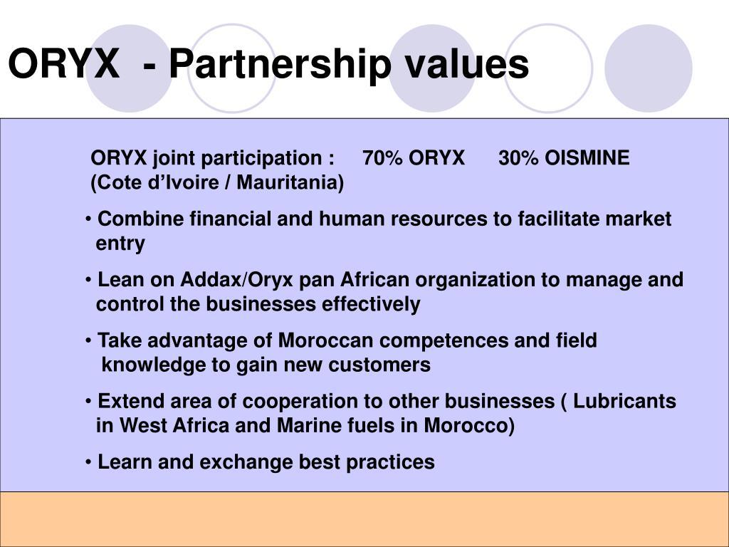 ORYX  - Partnership values