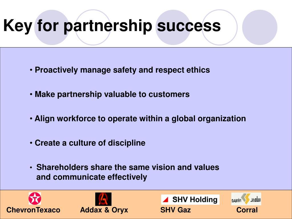 Key for partnership success