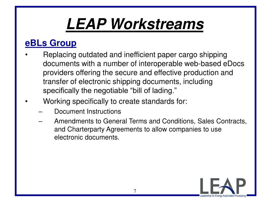 LEAP Workstreams