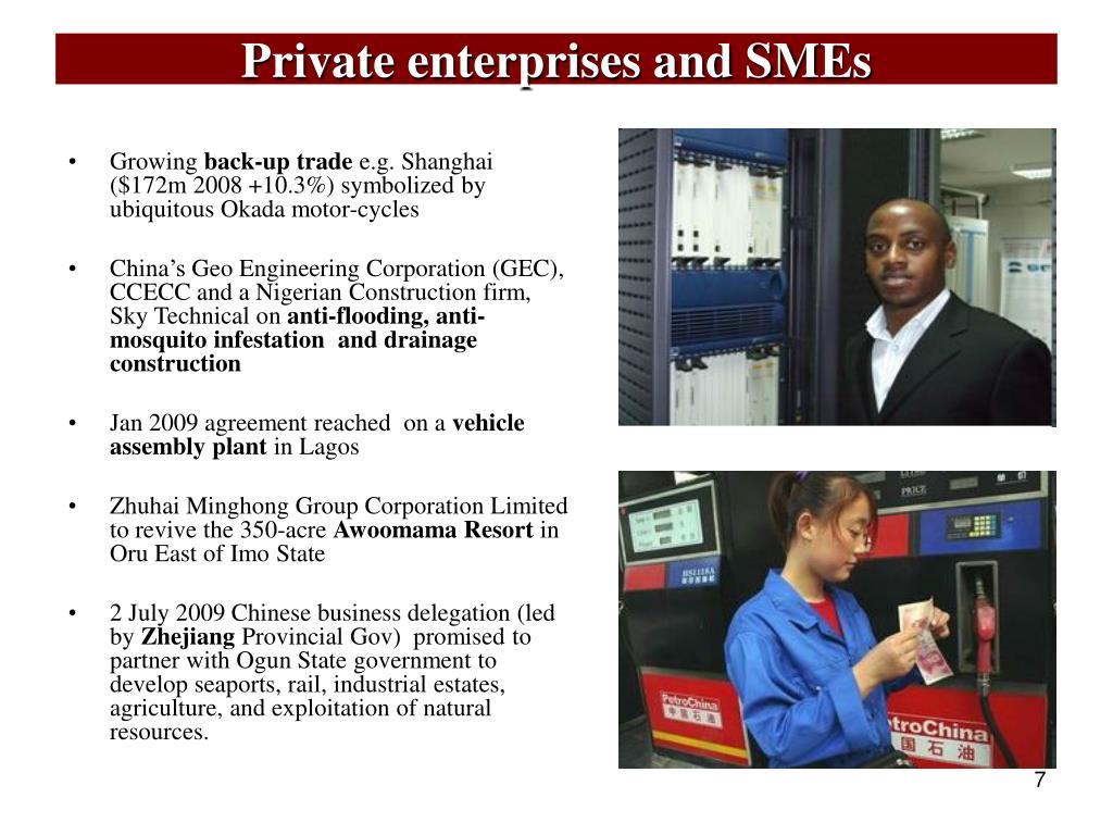 Private enterprises and SMEs