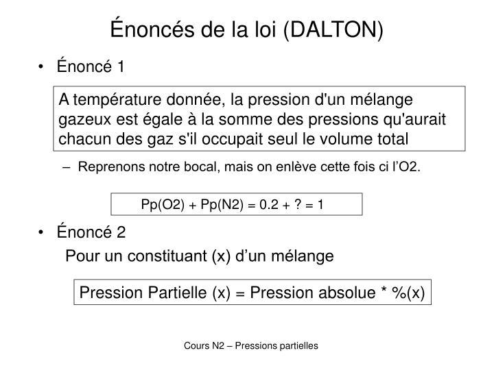 Énoncés de la loi (DALTON)